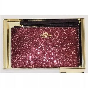 Coach boxed small wristlet with heart glitter